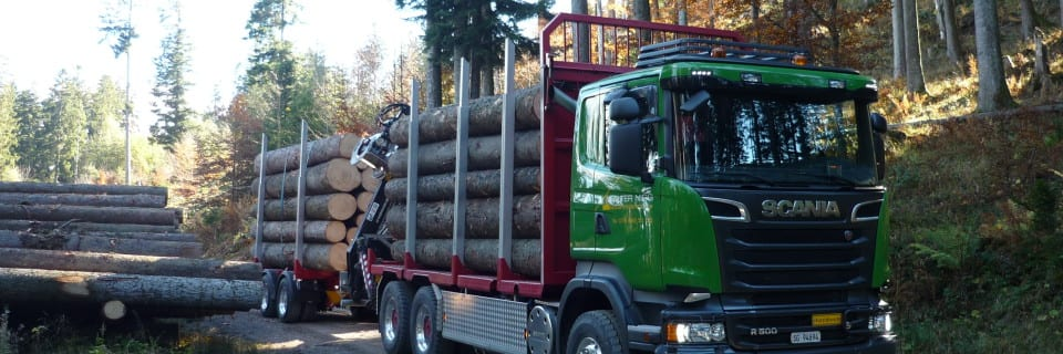 Mit unserem neuen Scania R500 inkl. Hänger transportieren wir grosse Mengen Holz.